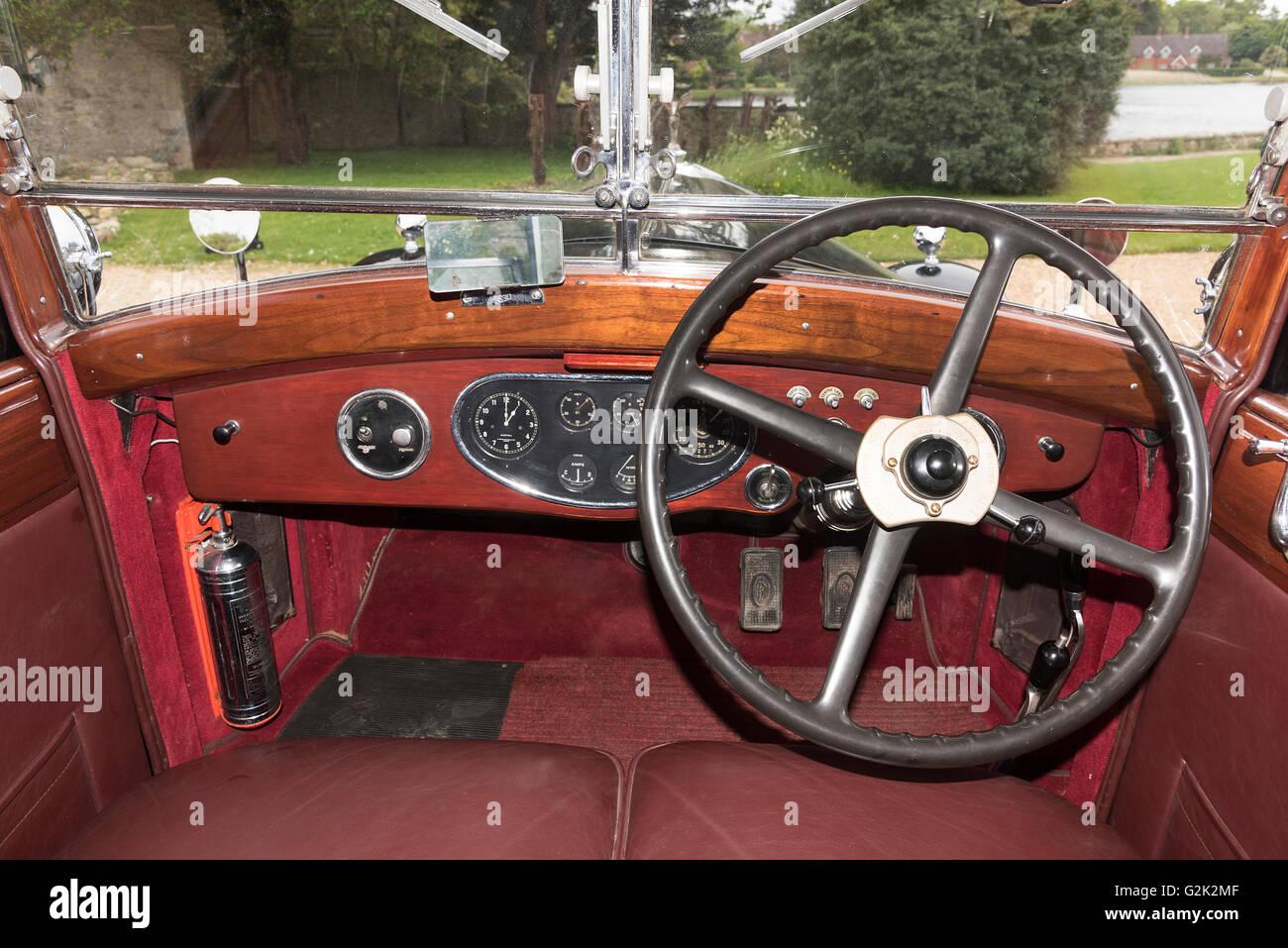 1933 Rolls Royce Phantom II Sedanca de Ville interior - Stock Image