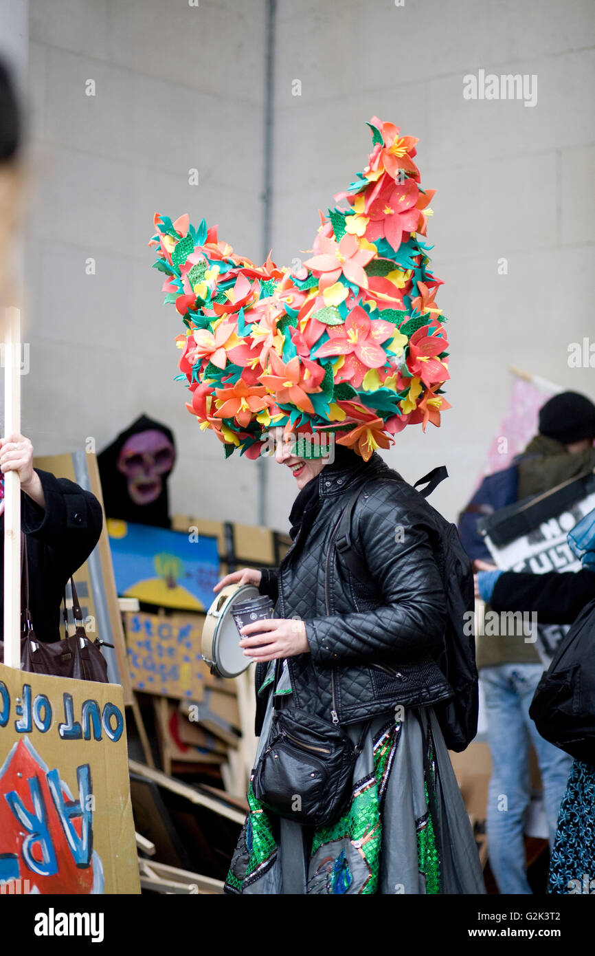 The Culture March took place in Cardiff on 6th February in protest against Cardiff Council's £700,000 arts - Stock Image