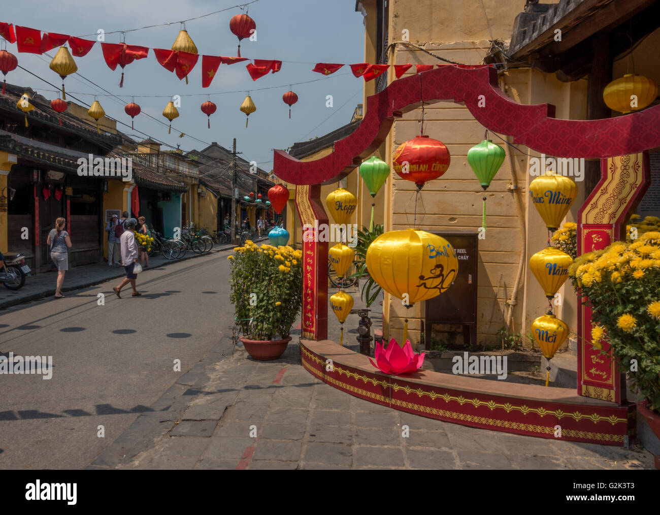 Colourfully decorated streets are famous in Hoi An, Vietnam - Stock Image