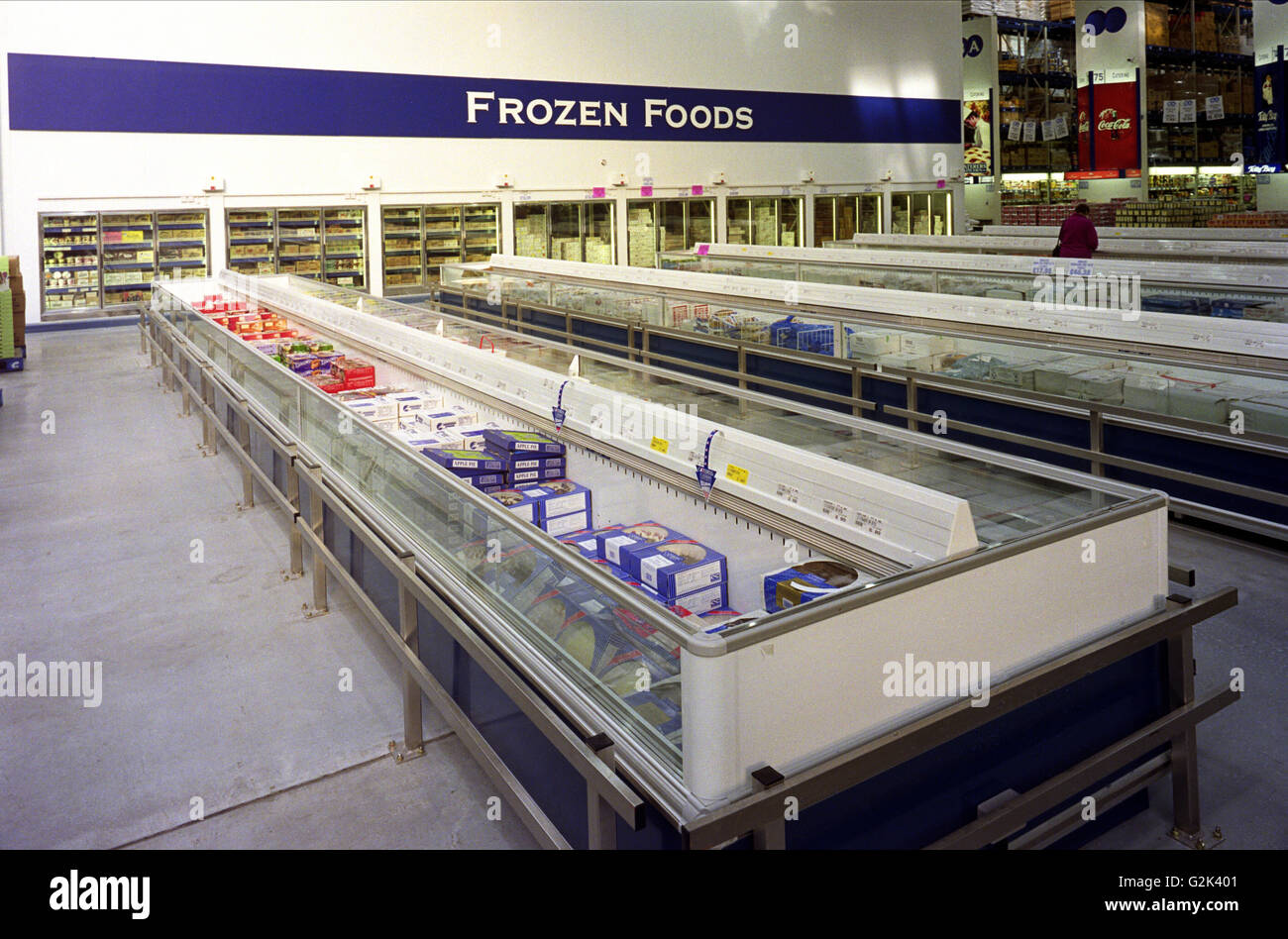 Interior Of Cash And Carry Warehouse Showing Frozen Food Cabinets