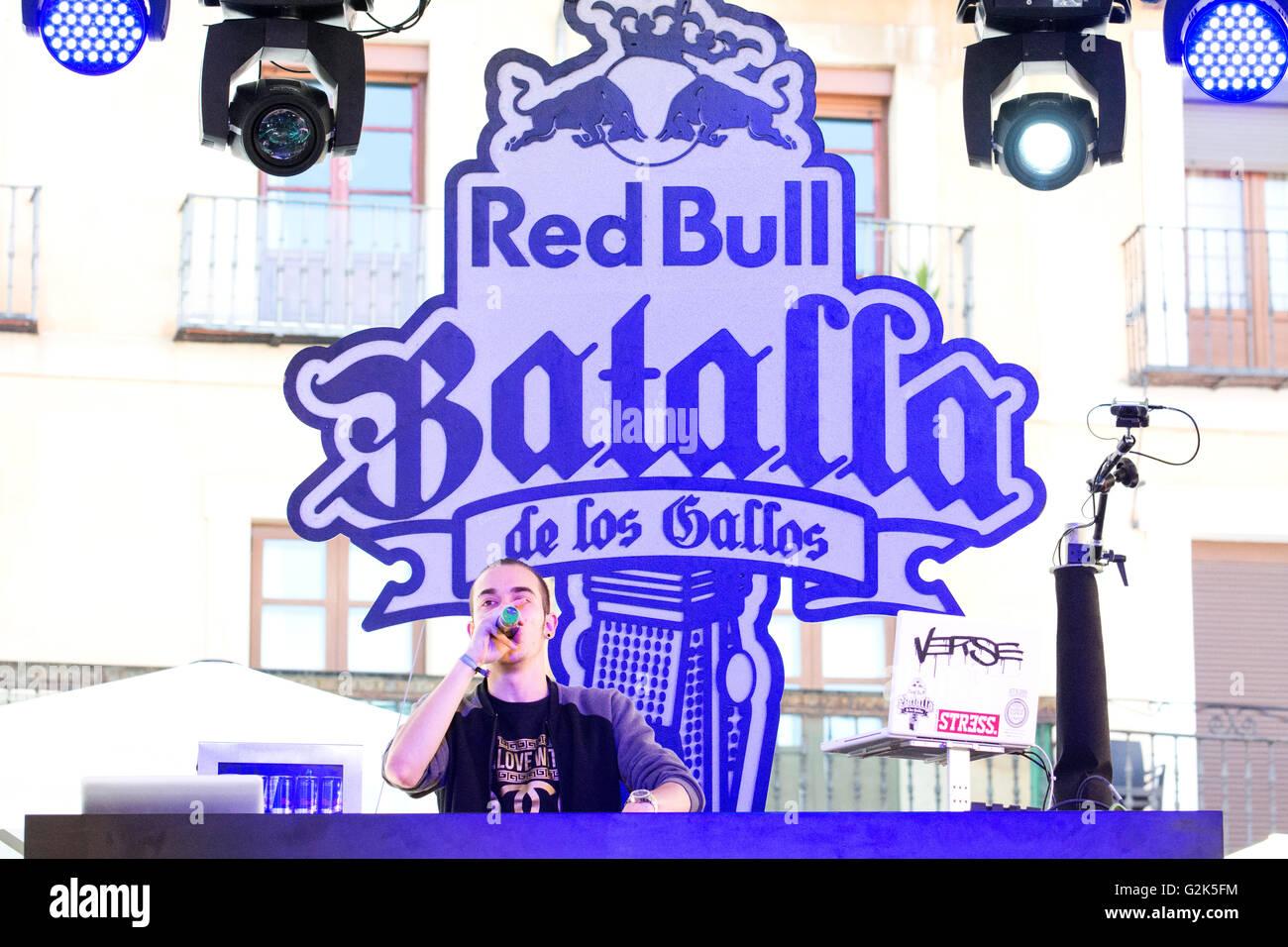 Spanish Rapper 'Arce' sings at freestyle battle 'RedBull Batalla de Los Gallos' in Leon (Spain) - Stock Image