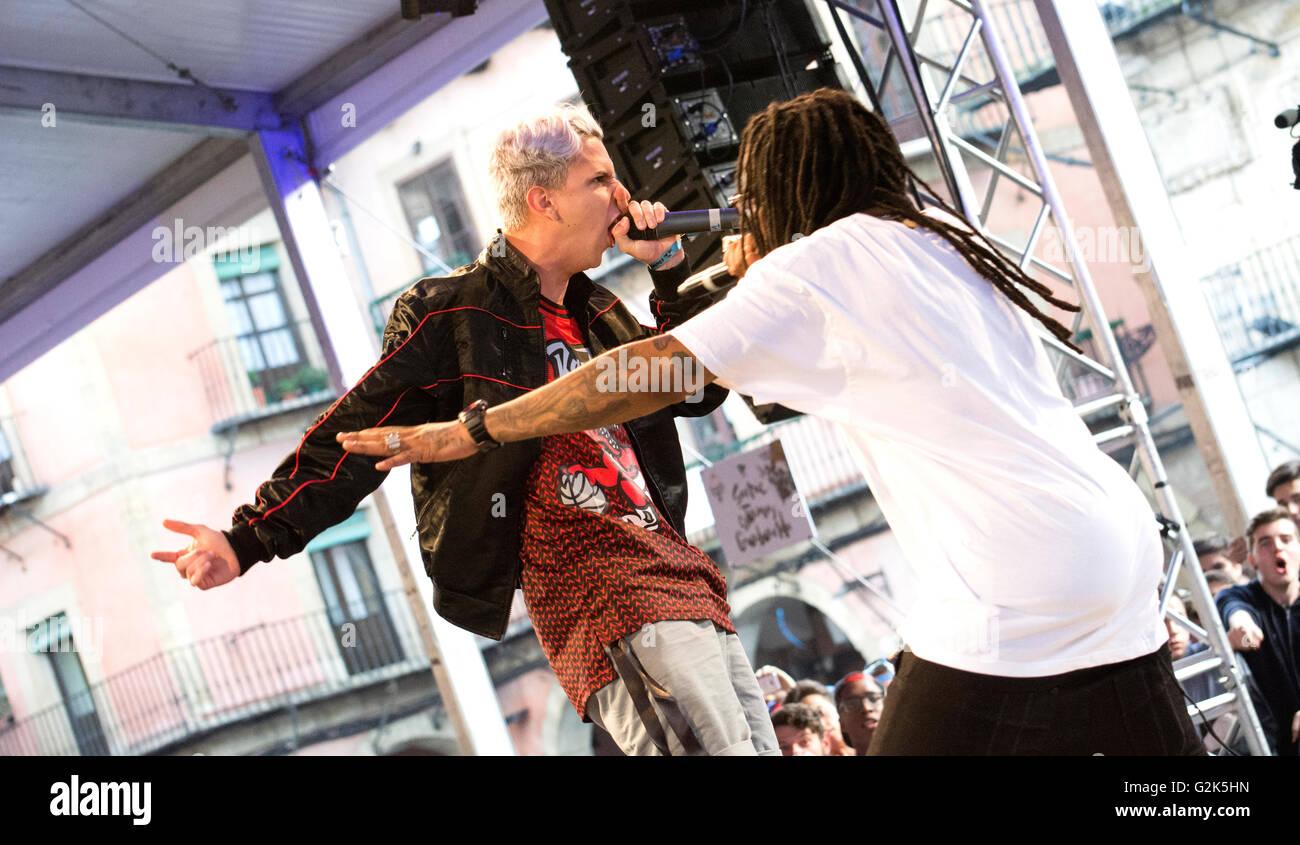 Spanish MC 'FJ' sings at freestyle battle 'RedBull Batalla de Los Gallos' in Leon (Spain) on May - Stock Image