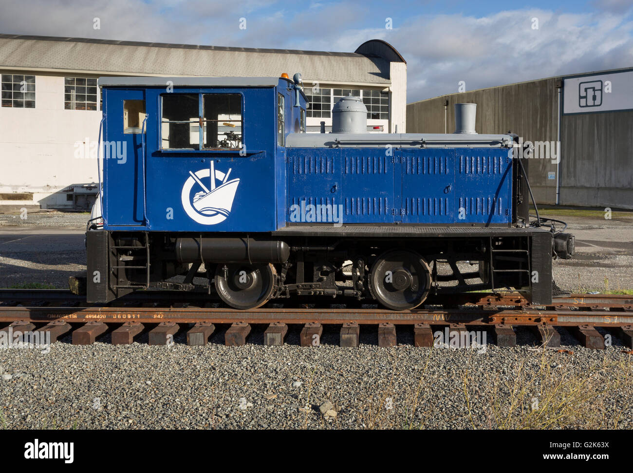 Coastal Transportation Company Plymouth ML-8 switcher railroad engine in Seattle, Washington.  The locomotive was built for the Stock Photo