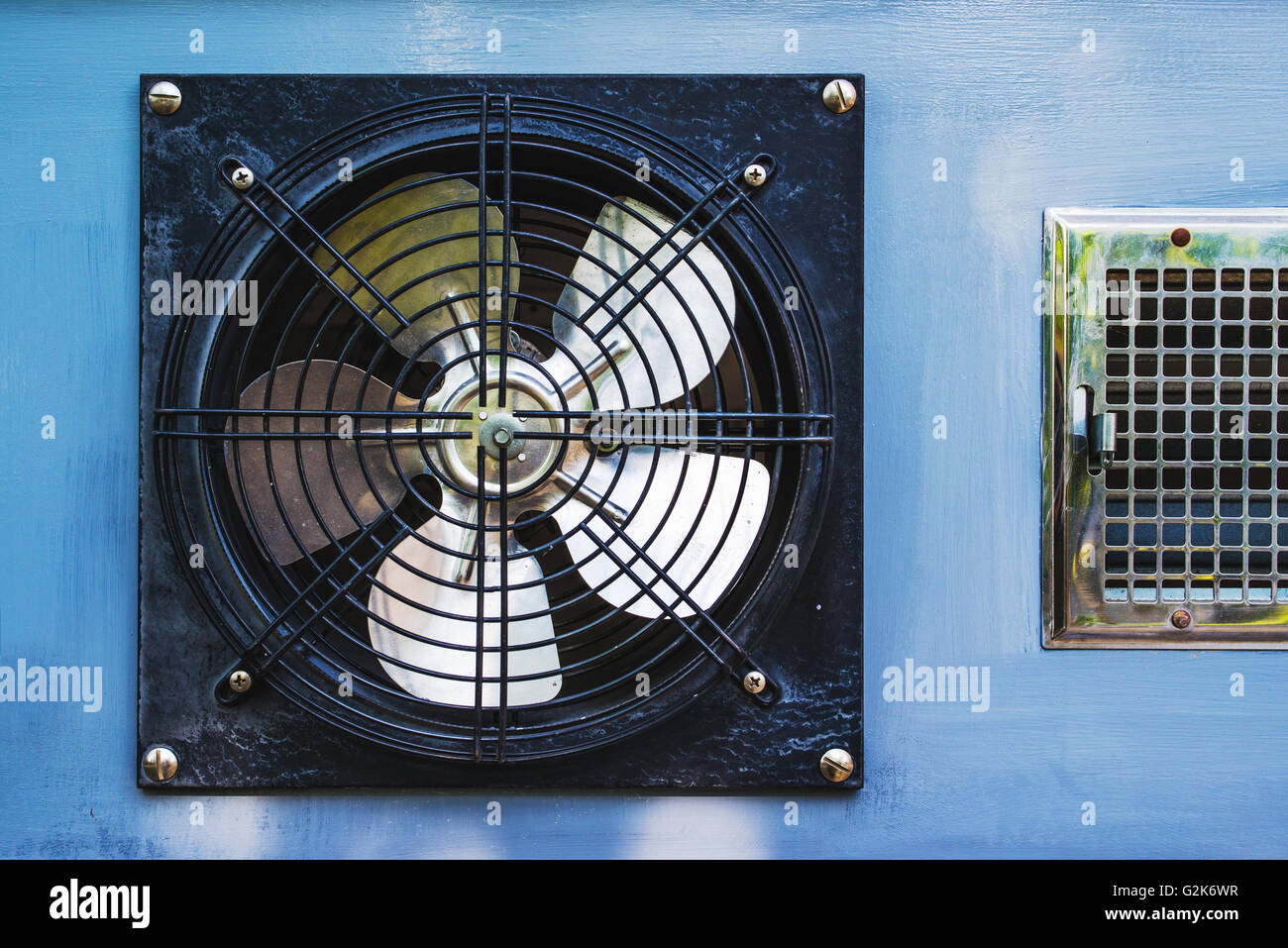 Axial cooling fan blower in garage - Stock Image