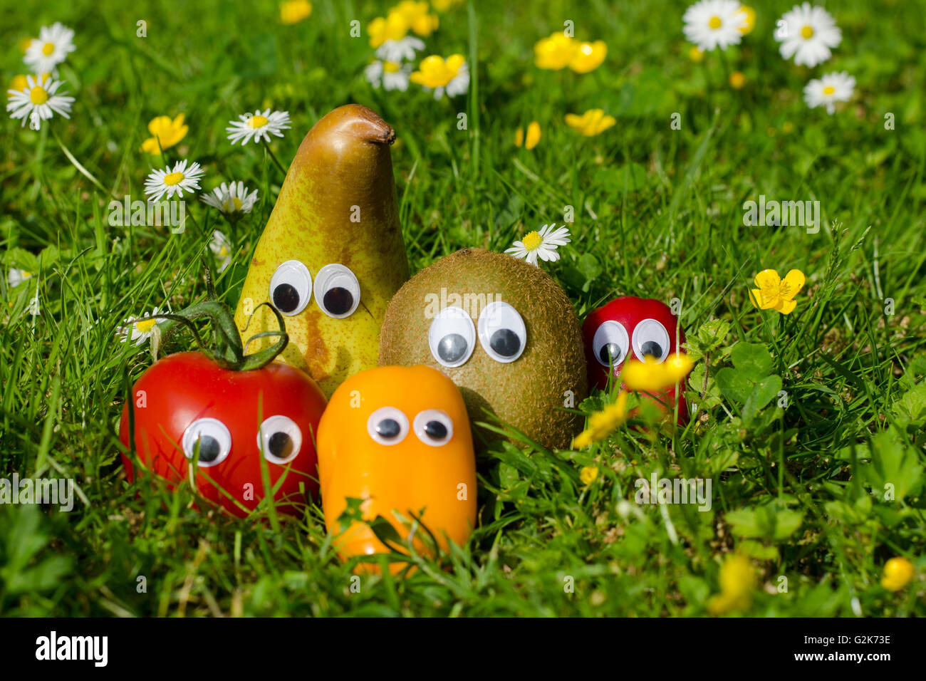 Funny vegetables and fruits with eyes in a summer meadow - Stock Image