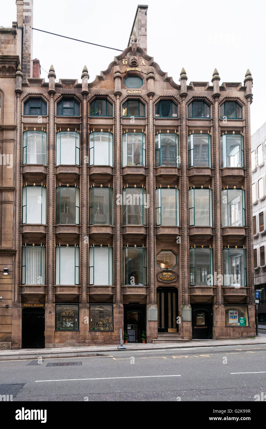 Oriel Chambers in Liverpool was one of the first buildings to feature a metal framed glass curtain wall, in 1864. - Stock Image