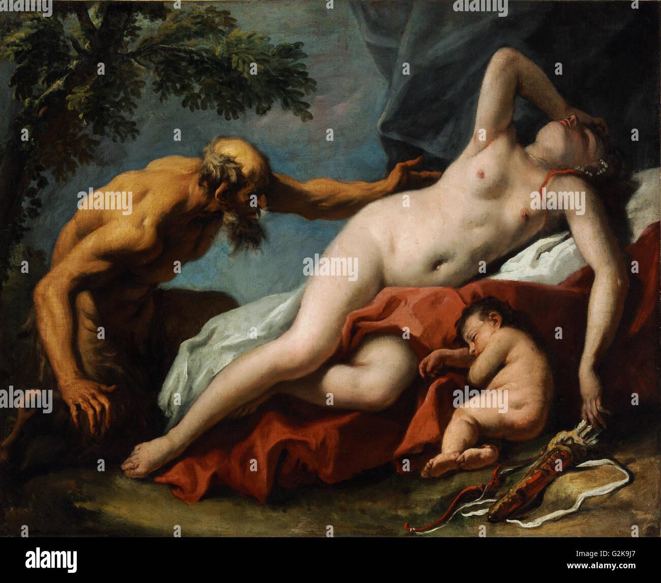 Sebastiano Ricci - Venus and Satyr  - Museum of Fine Arts, Budapest Stock Photo