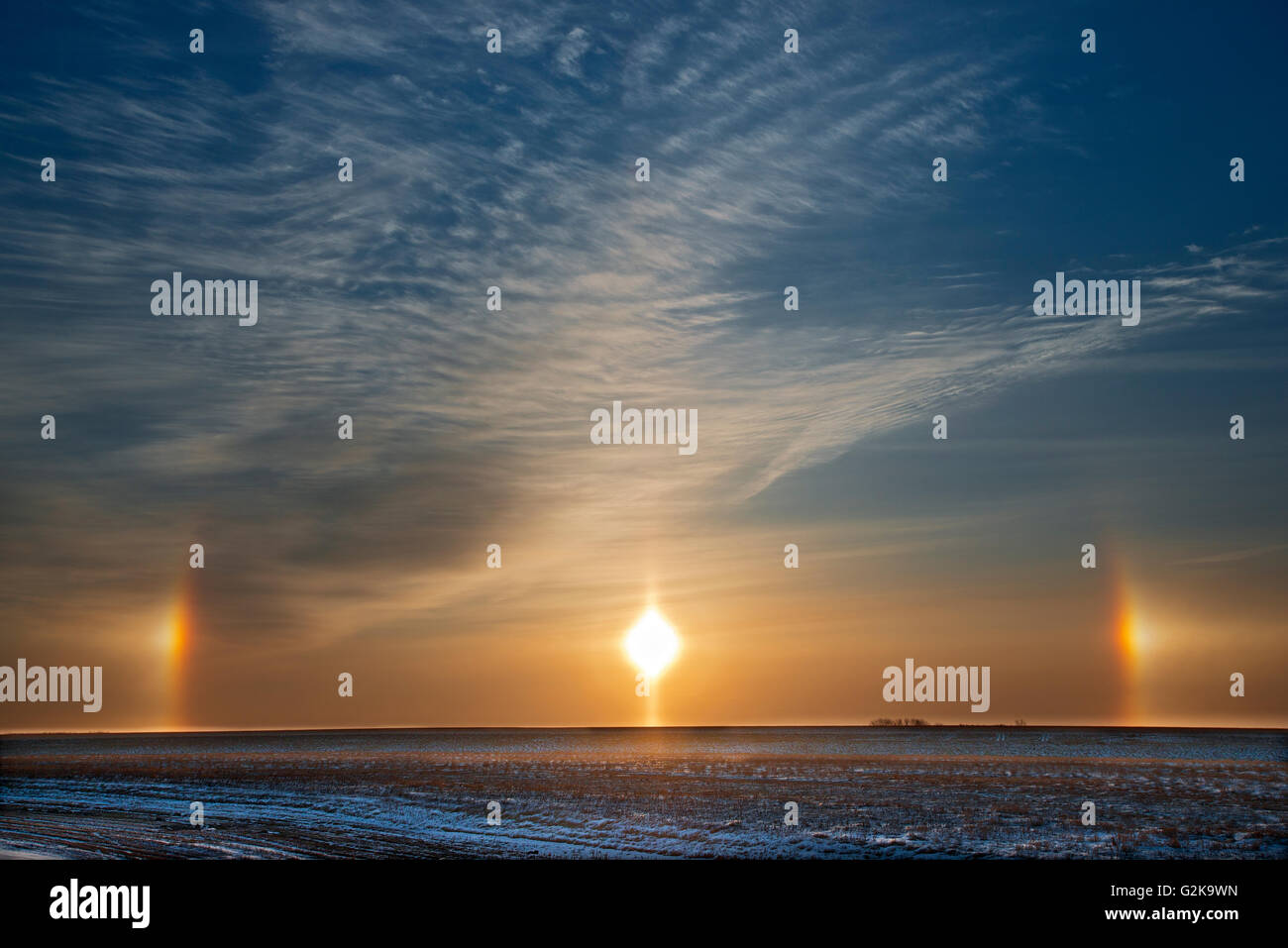 Sundogs on the Canadian prairie Winnipeg Manitoba Canada - Stock Image