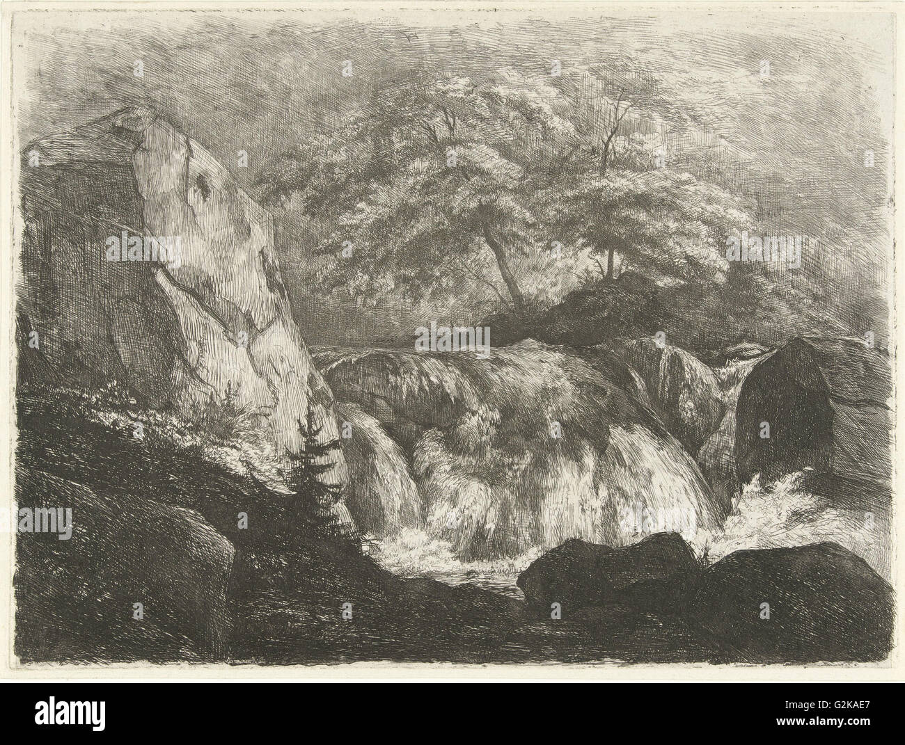 Rocky Landscape with Waterfall, Pierre Louis Dubourcq, 1830 - 1858 - Stock Image