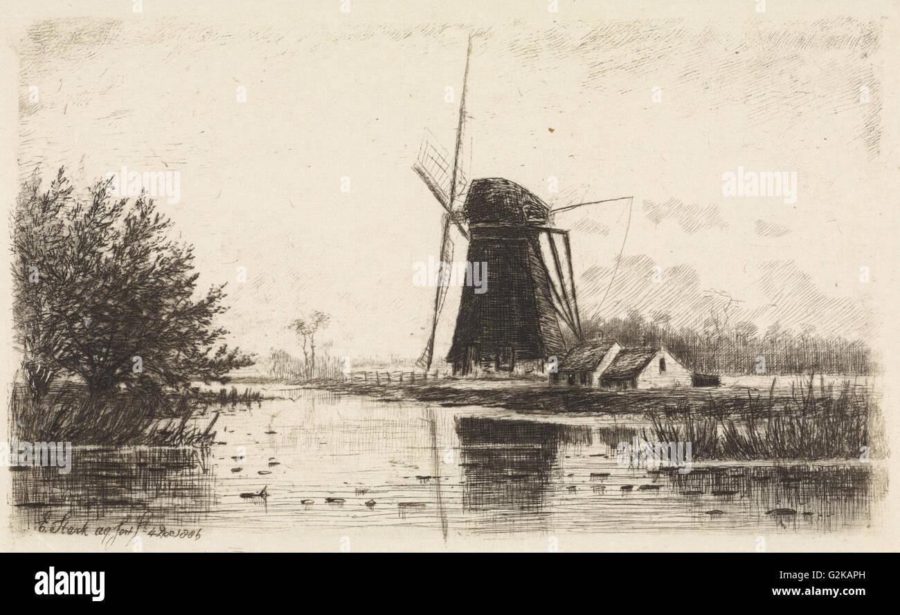 Windmill in Baambrugge, The Netherlands, Elias Stark, 1886 - Stock Image