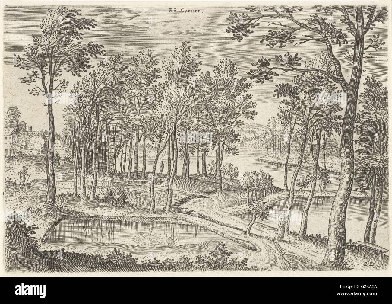 View of the ponds of Ter Kameren, La Cambre Brussels Belgium, Hans Collaert I, Hans Bol, Claes Jansz. Visscher II, - Stock Image