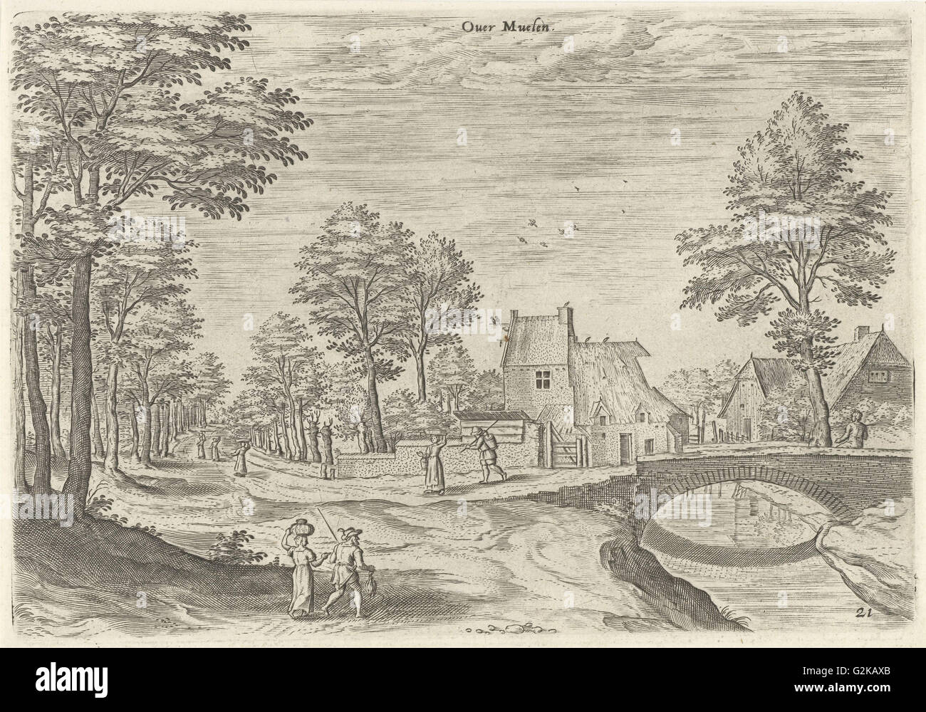 View of the road to Brussels, Belgium, print maker: Hans Collaert I, Hans Bol, Jacob Grimmer attributed to, 1530 - Stock Image