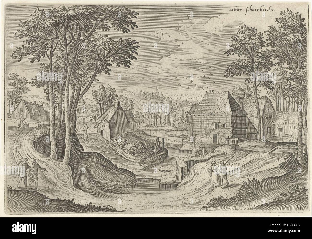 View near Schaerbeek, Belgium, Hans Collaert (I), Hans Bol, Claes Jansz. Visscher (II), 1530 - 1580 - Stock Image