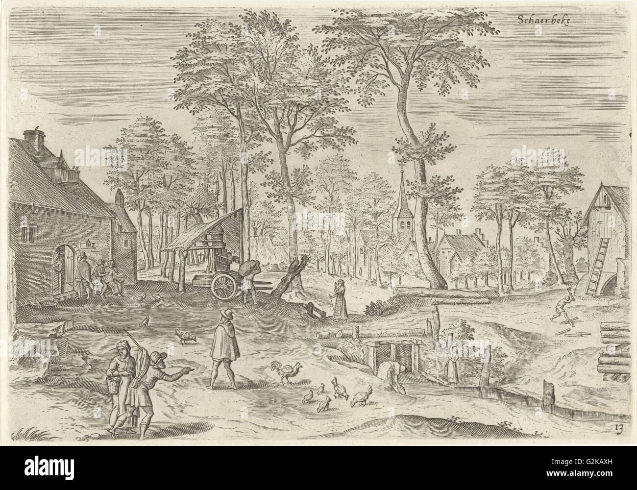 View of Schaerbeek Belgium, Hans Collaert I, Hans Bol, Claes Jansz. Visscher II, 1530 - 1580 - Stock Image