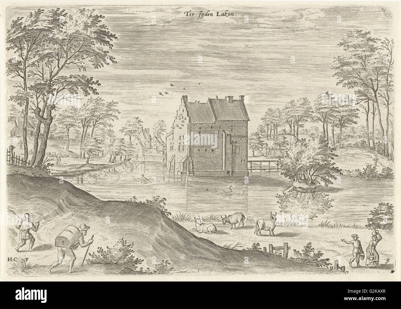 Castle Coensborg in Laken, Hans Collaert I, Hans Bol, Claes Jansz. Visscher II, 1530-1580 - Stock Image