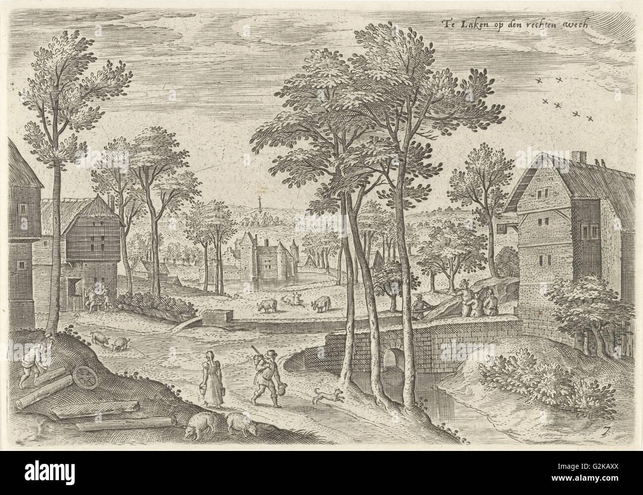 View of the main street of Laeken, Belgium, Hans Collaert (I), Hans Bol, Claes Jansz. Visscher (II), 1530 - 1580 - Stock Image