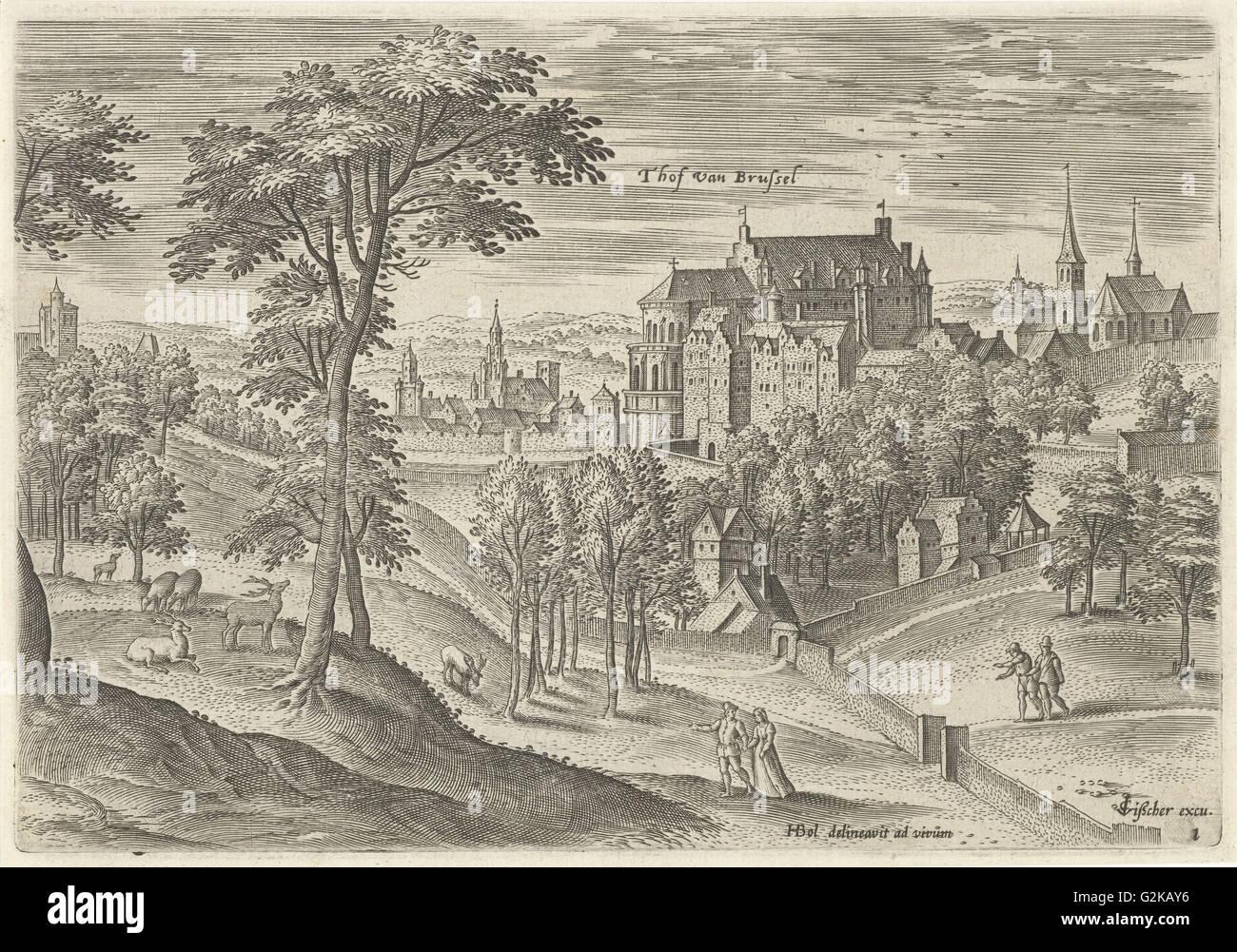 View of the Slot Hof of Brussels, Belgium, Hans Collaert I, Claes Jansz. Visscher II, 1530 - 1580 - Stock Image