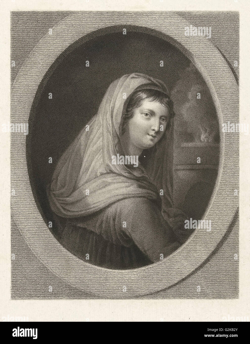 Young woman with a veil, in the background a fire, Lambertus Antonius Claessens, Guido Reni, c. 1829 - c. 1834 - Stock Image
