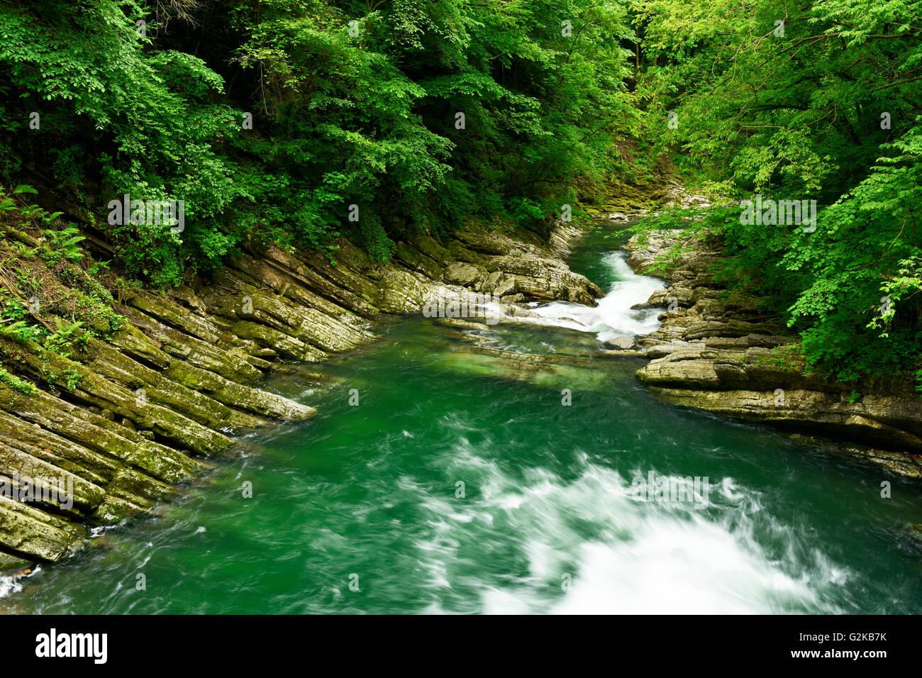 Eroded bands of limestone, rocks, River Breggia, Parco delle Gole della Breggia, Mendrisio, Canton of Ticino, Switzerland - Stock Image
