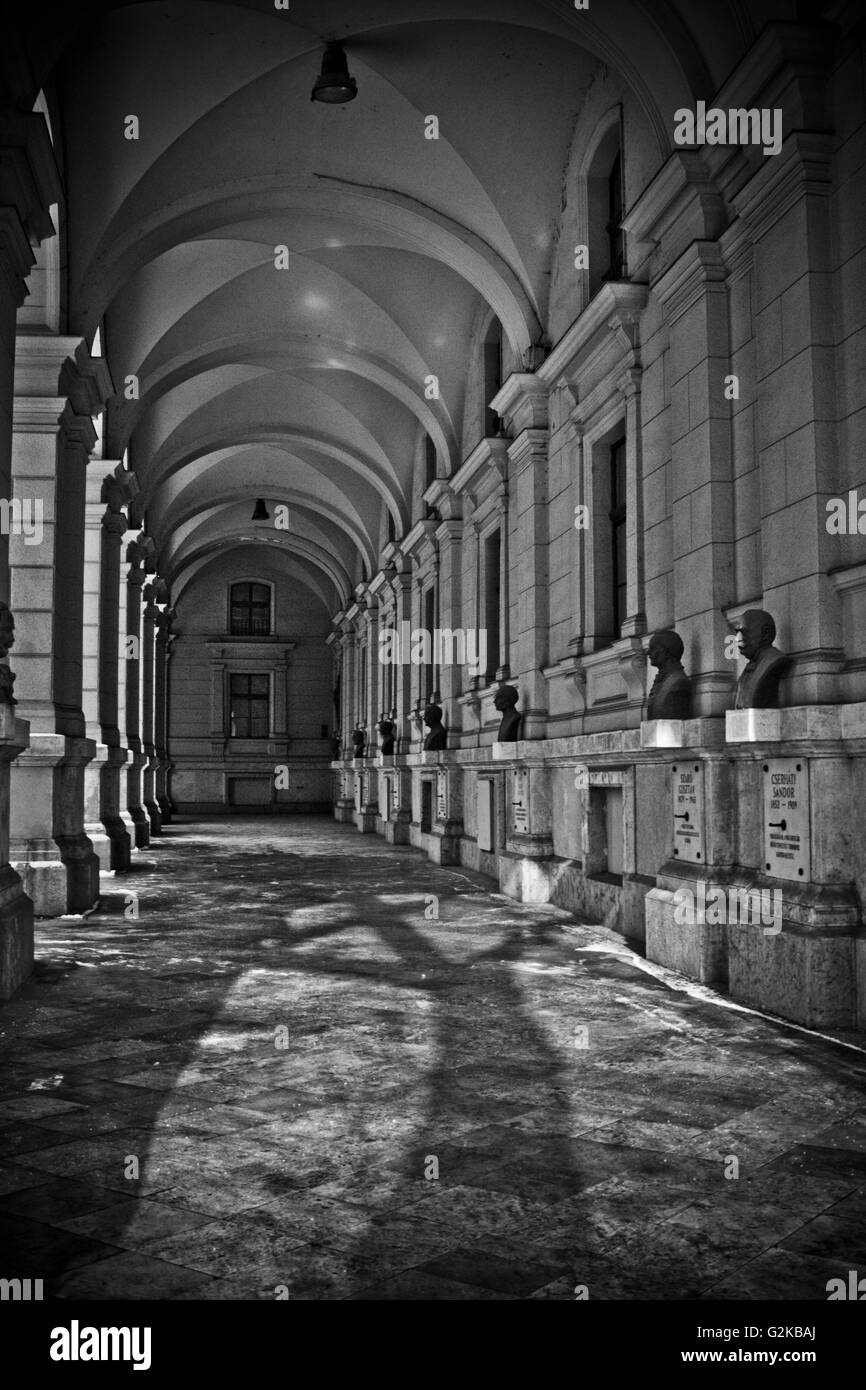 Row of Bronze Busts, Arcade of West Façade, Ministry of Agriculture and Rural Development, Budapest, Hungary - Stock Image