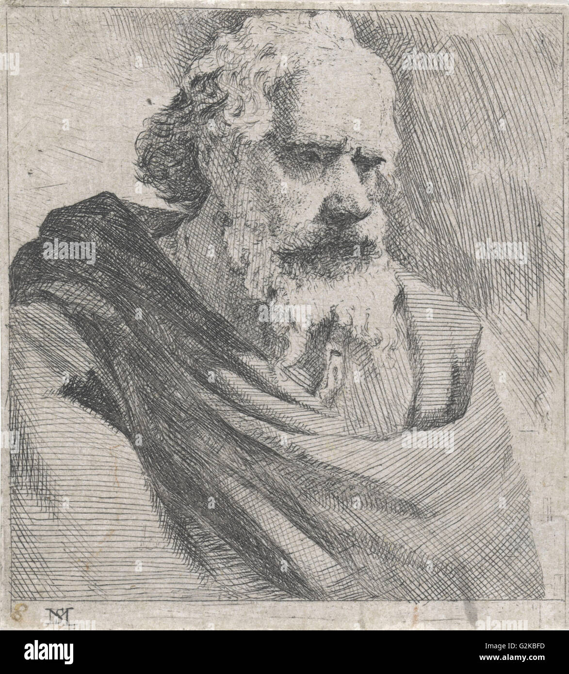 Bust of an old bearded man, Michael Sweerts, 1656 - Stock Image