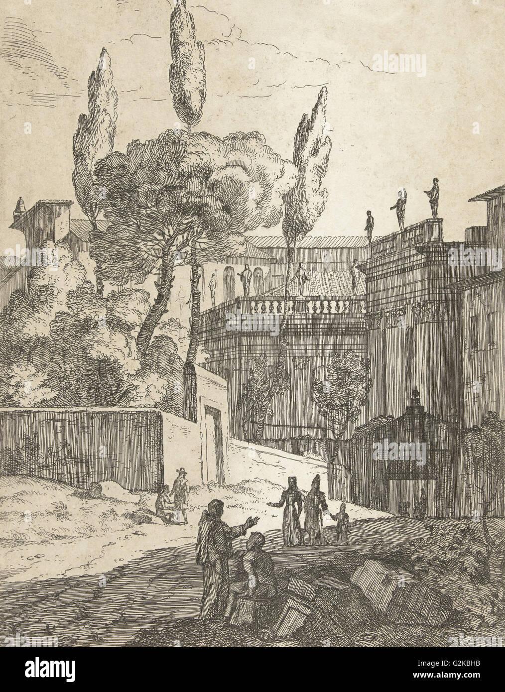 Italianate landscape with antique buildings and figures, Jan Frans van Bloemen, 1689 - 1749 - Stock Image
