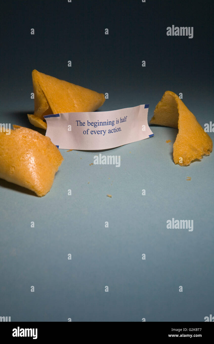 Opened Fortune Cookie - Stock Image
