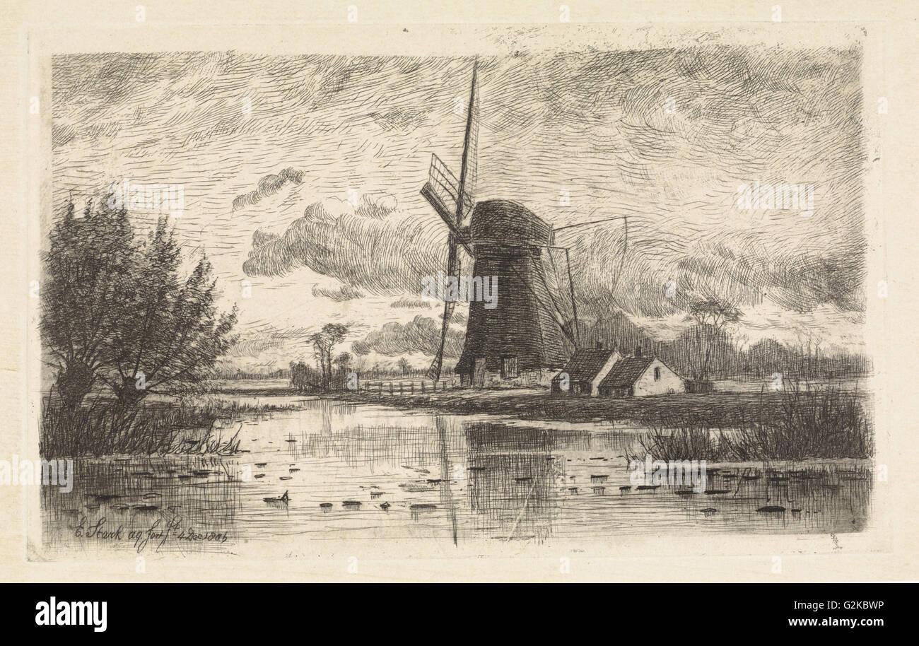 Windmill Baambrugge, The Netherlands, Elias Stark, 1886 - Stock Image