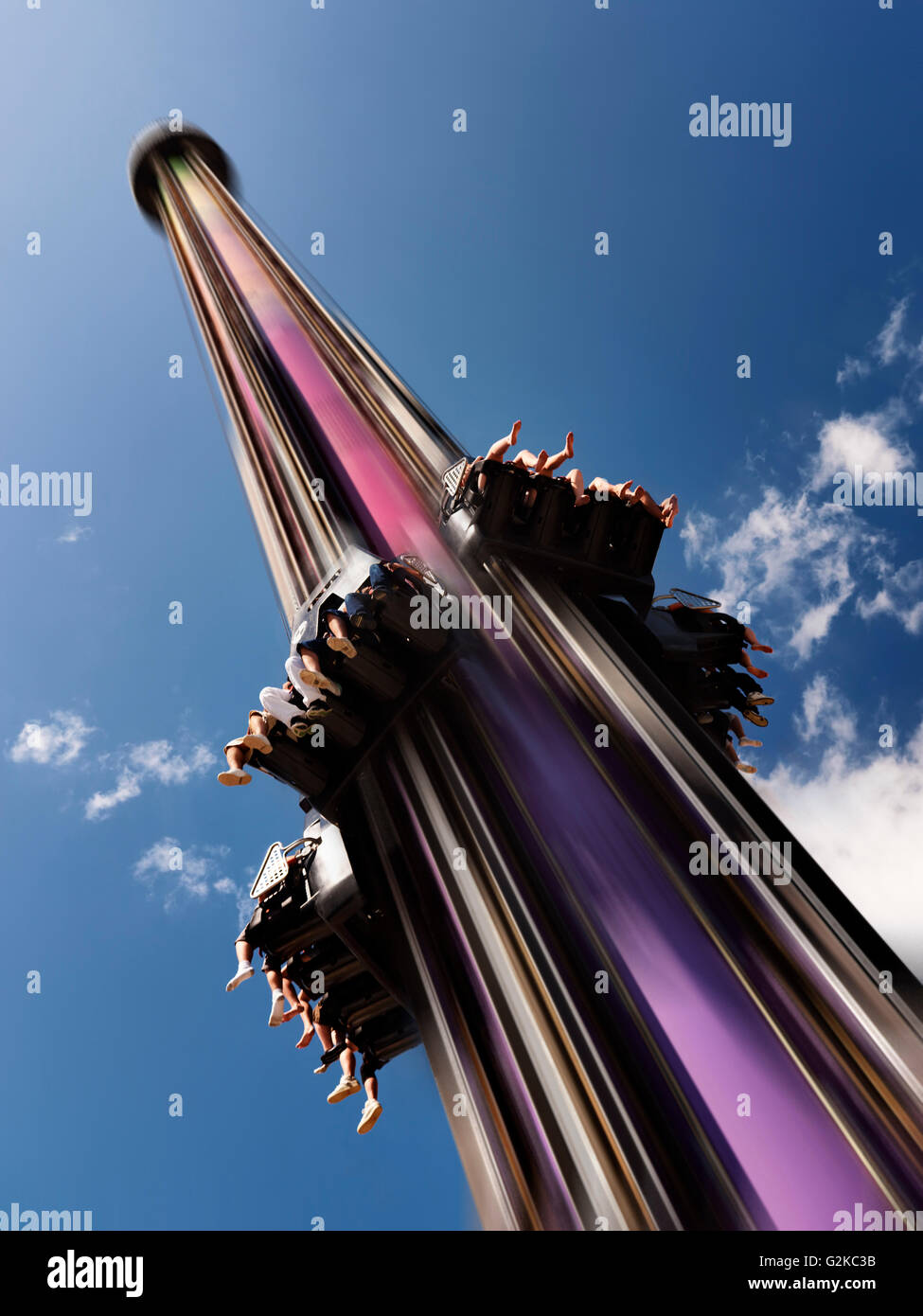 Drop Tower free fall thrill ride at Canada's Wonderland amusement park, Vaughan, Ontario Province, Canada - Stock Image