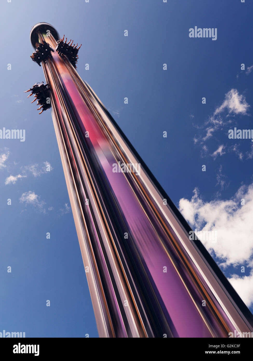 Drop Tower free fall thrill ride at Canada's Wonderland amusement park. Vaughan, Ontario, Canada, Vaughan, Ontario - Stock Image