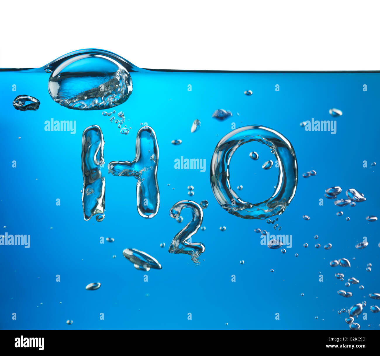 Formula of water, H2O, made of air bubbles in water - Stock Image