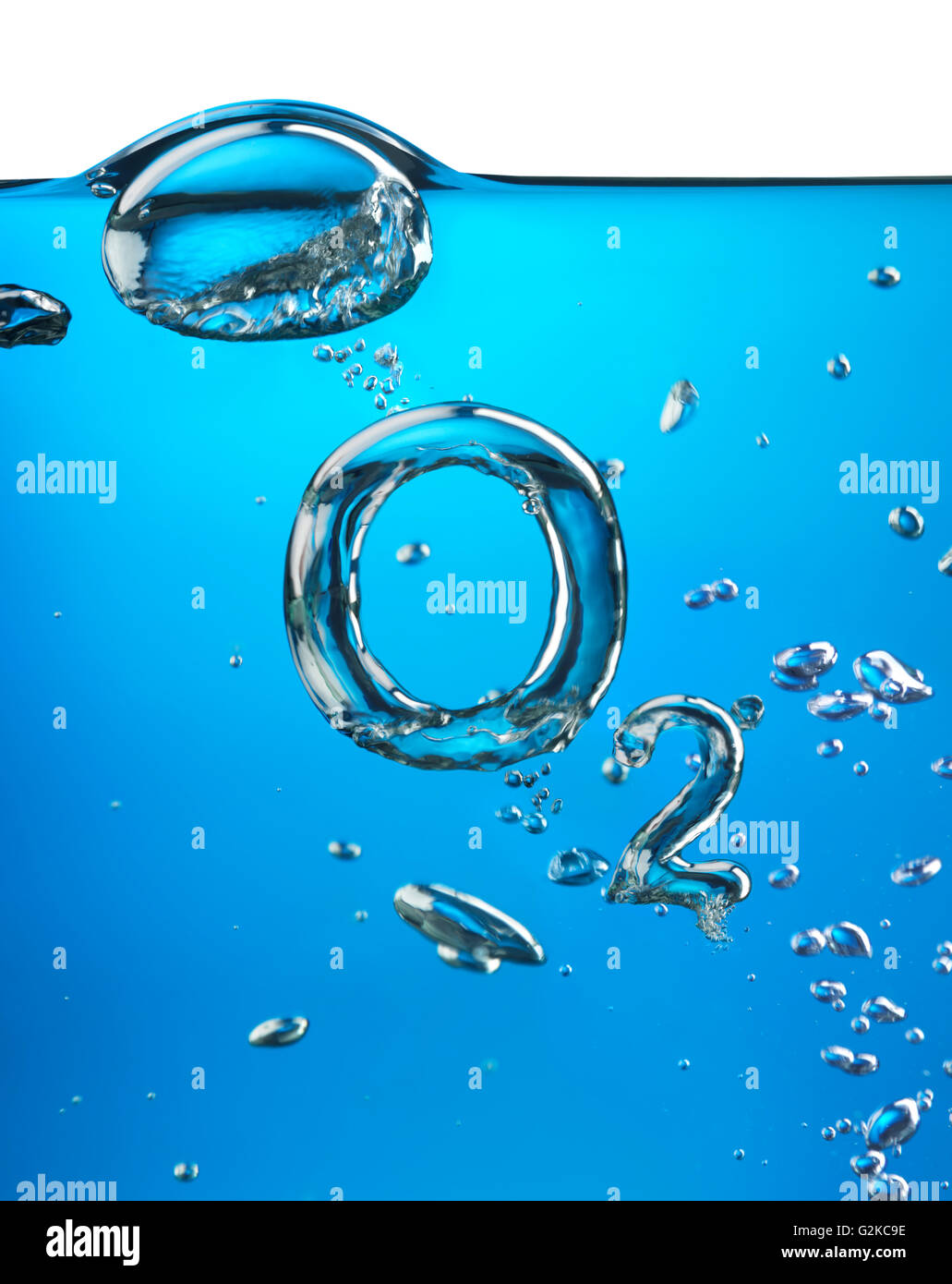 Formula of oxygen, O2, made of air bubbles in water - Stock Image