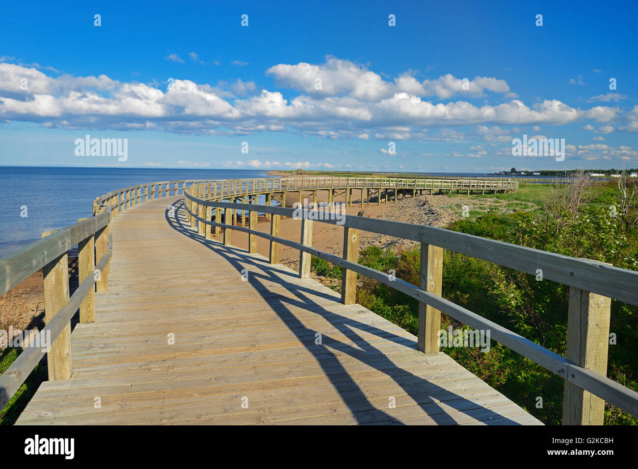 Boardwalk along the dunes adjacent the saltwater beach at the Irving Eco-centre  Bouctouche New Brunswick Canada - Stock Image