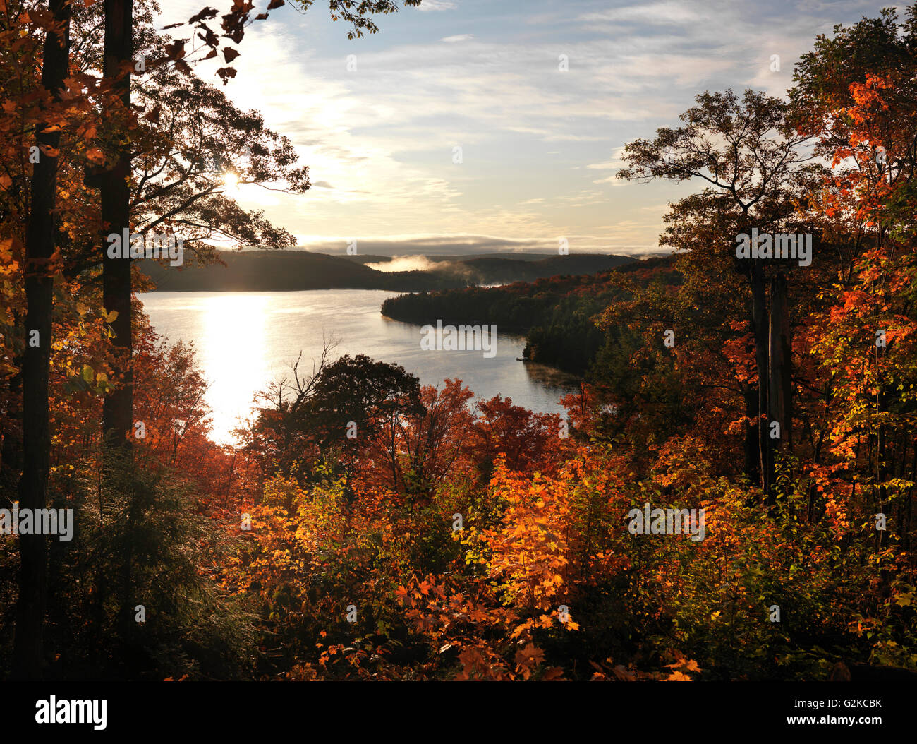 Smoke Lake in autumn, Algonquin Provincial Park, Ontario Province, Canada - Stock Image