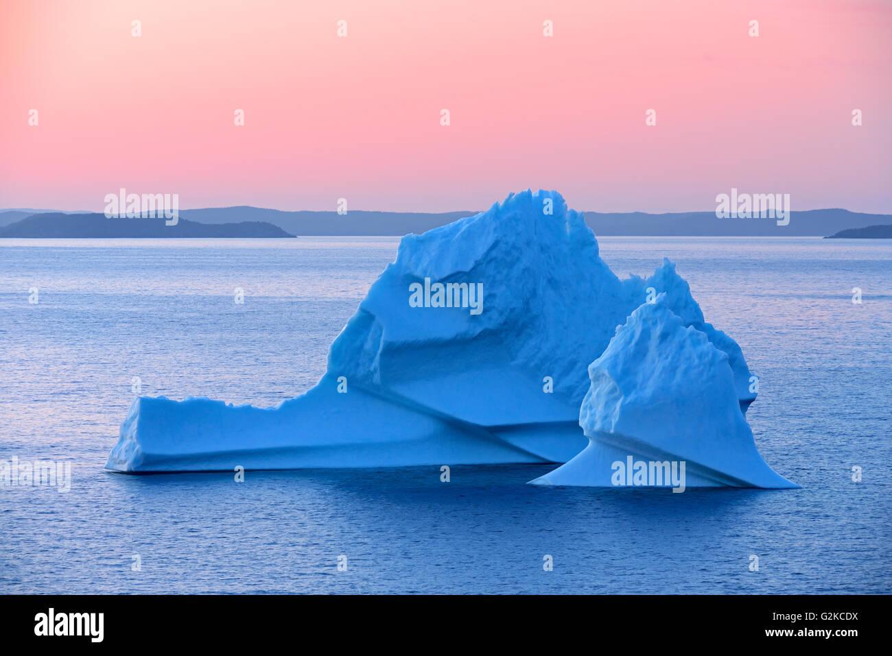 Iceberg in Bonavista Bay at sunset Eastport Newfoundland & Labrador Canada - Stock Image