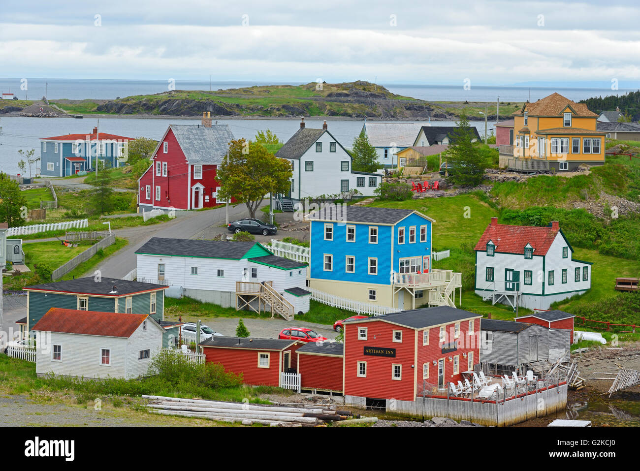 Colourful coastal fishing Village of Trinity on the Atlantic Ocean shoreline. Trinity Newfoundland & Labrador - Stock Image