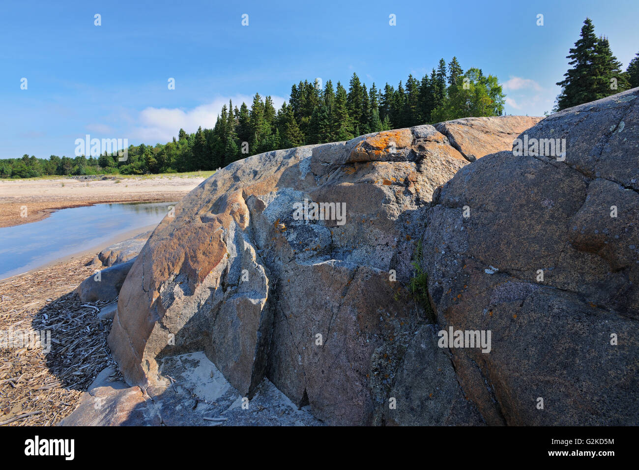 Rocky shoreline of Lake Superior at Prisoners Cove Neys Provincial Park Ontario Canada - Stock Image
