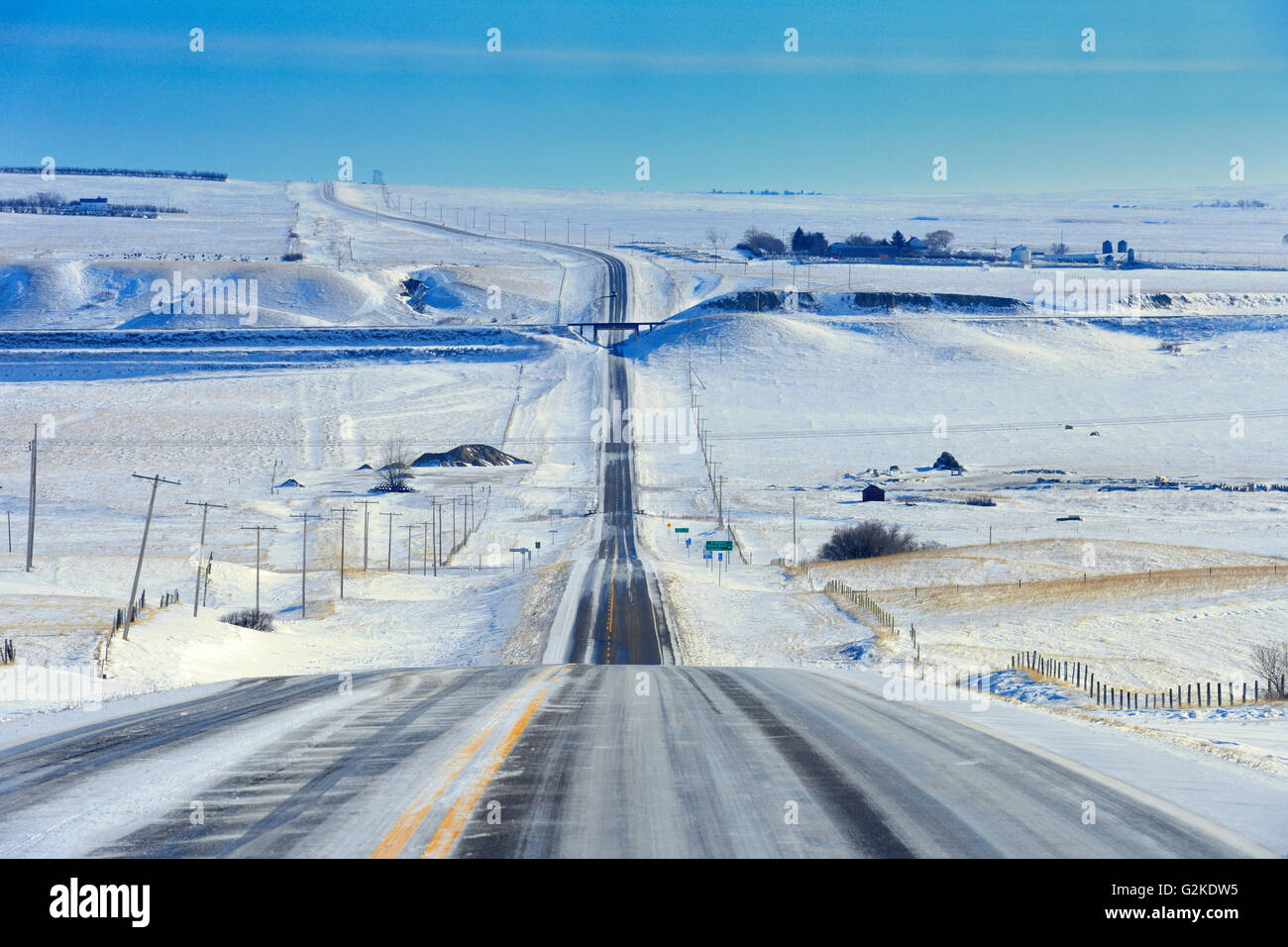 Wintery conditions on Highway 13 Verwood Saskatchewan Canada - Stock Image