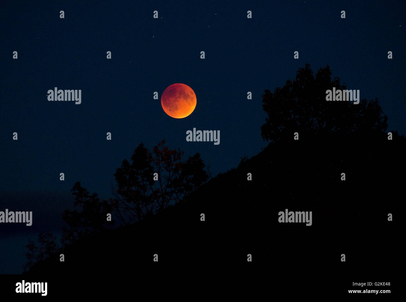 Blood moon rises over the mountains surrounding Enderby, in the Shuswap region of British Columbia, Canada - Stock Image