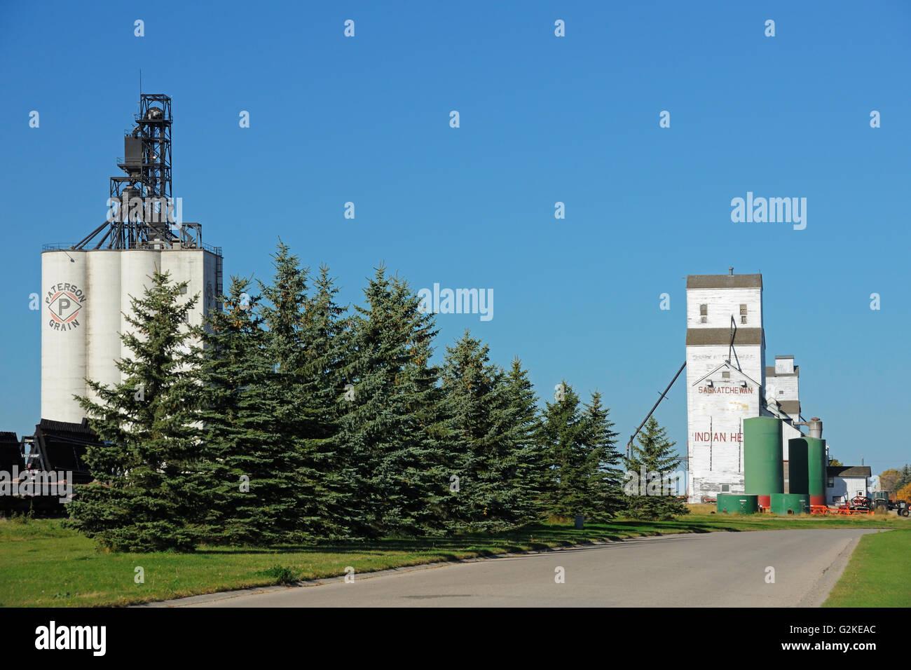 Inland grain terminal and grain elevator Indian Head Saskatchewan Canada - Stock Image