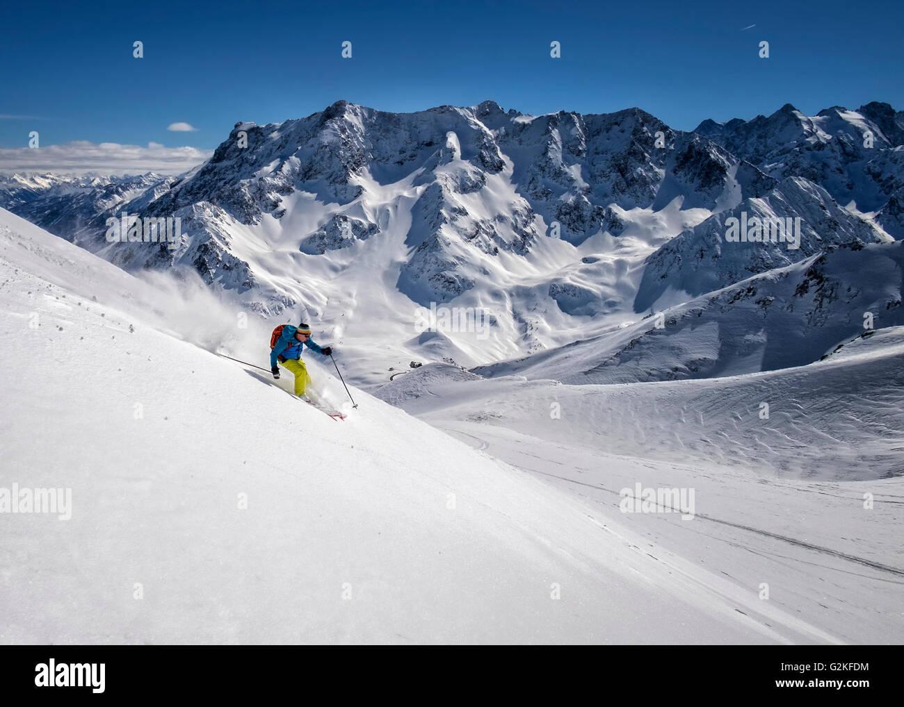 France, Isere, Les Deux Alpes, Pic du Galibier, ski mountaineering - Stock Image