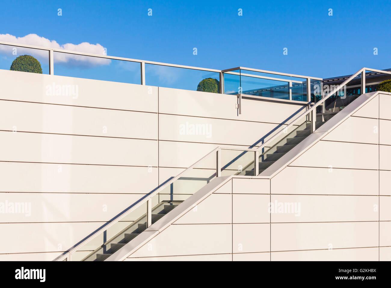 Stairs and railing, upwards - Stock Image