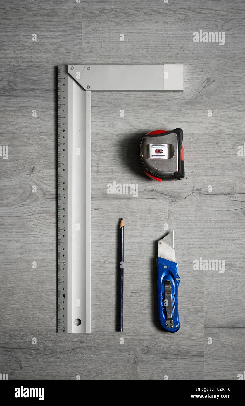 Measuring and cutting tools - Stock Image