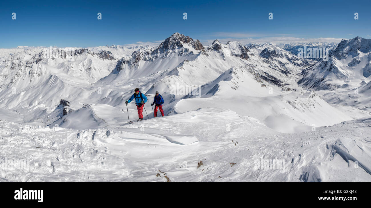 France, Isere, Les Deux Alps, Pic du Galibier, ski mountaineering - Stock Image