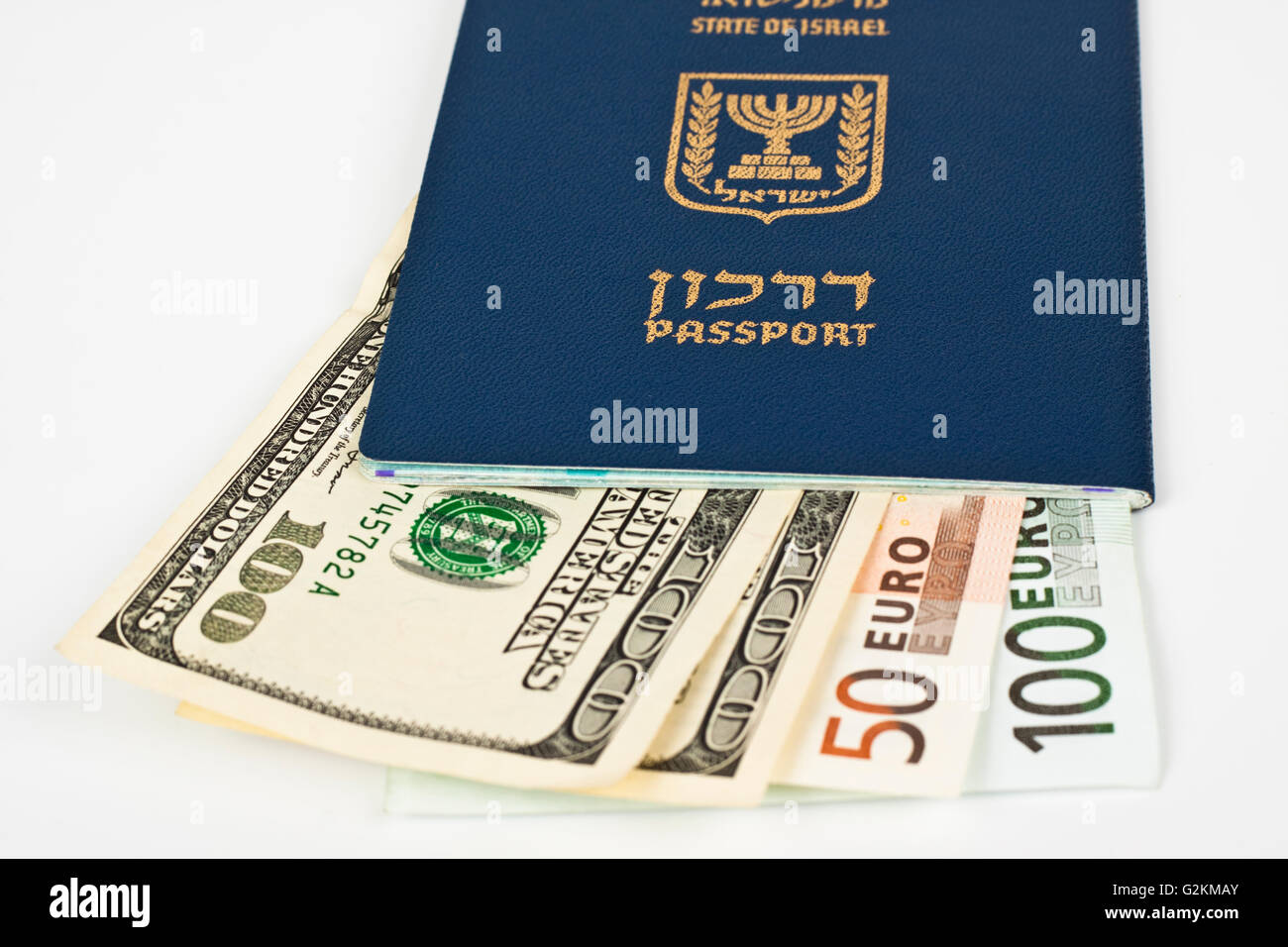israeli passport and dollar bills isolated on white with cliping path Stock Photo