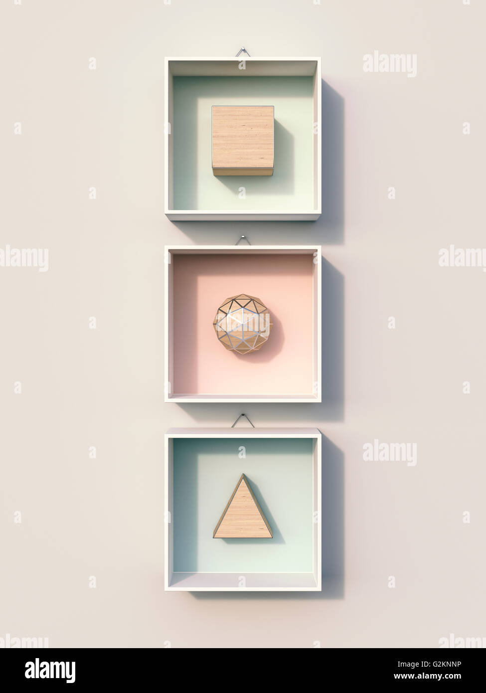 Geometric shapes hanging on wall, 3d rendering - Stock Image