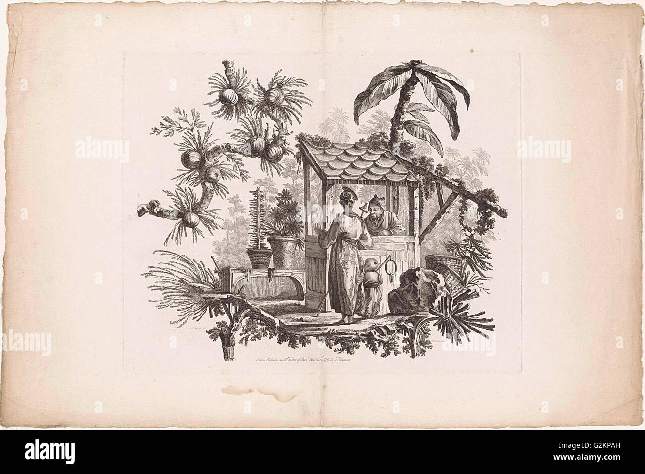 China, Chinese houses and people, I. Pillement inv. F.A. Aveline sc. Londen by I. Pillement - Stock Image