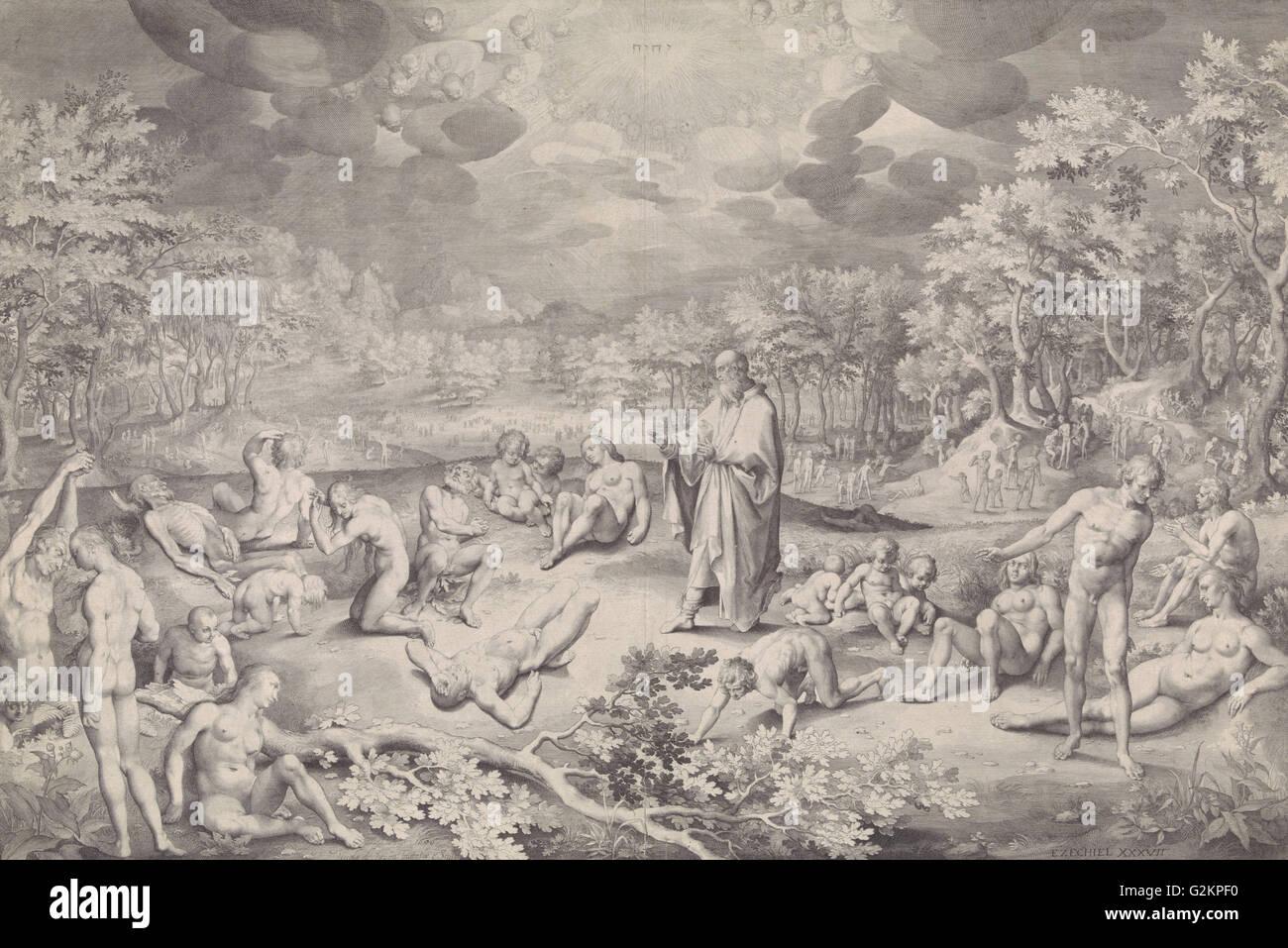 Vision of Ezekiel across the valley of bones, Nicolaes de Bruyn, 1606 - Stock Image