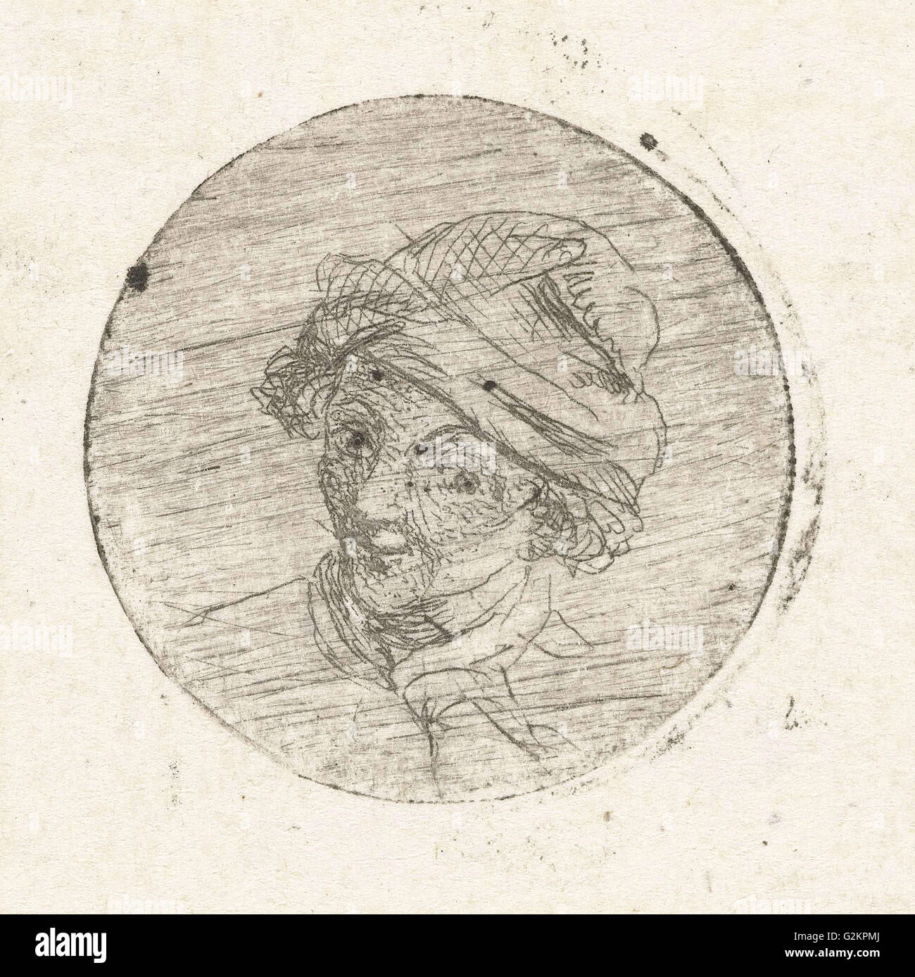 Mans Head with cap, print maker: Marie Lambertine Coclers, 1776 - 1815 - Stock Image