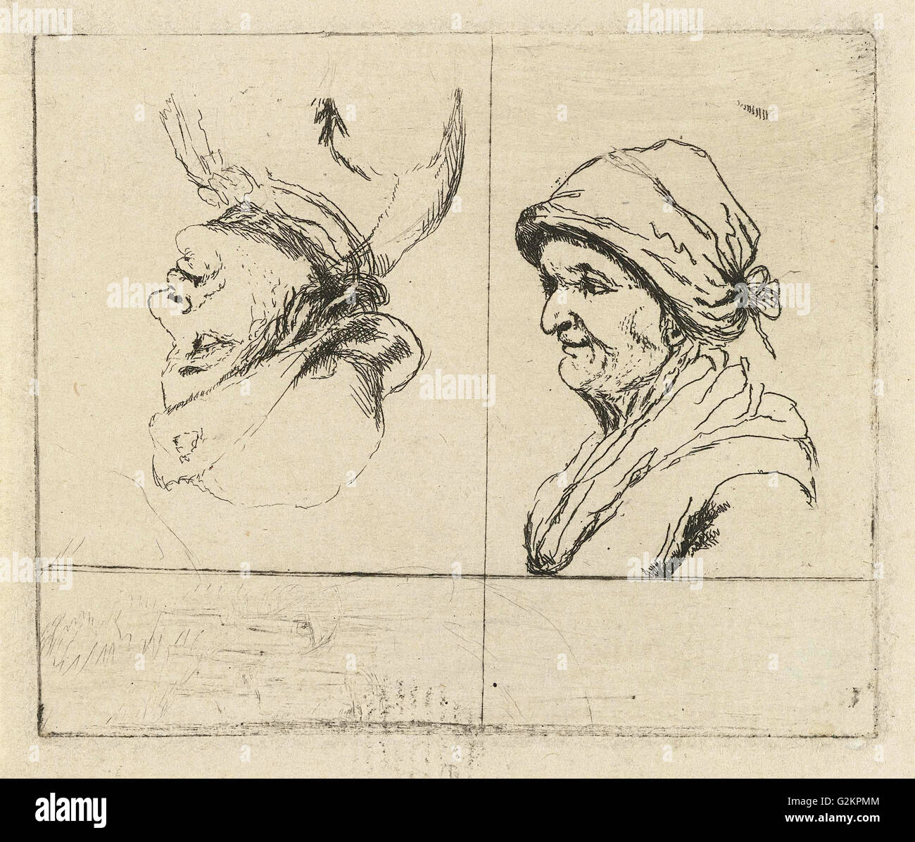 Study Sheet with two portrait busts, Marie Lambertine Coclers, 1776 - 1815 - Stock Image